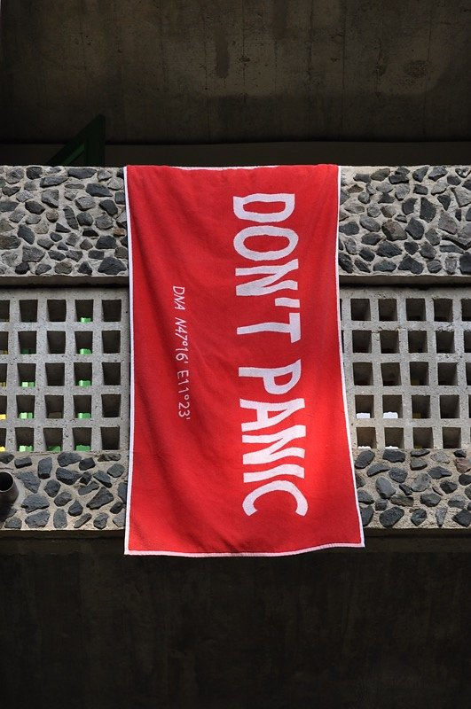 Don't Panic Towel at convent La Tourette, France